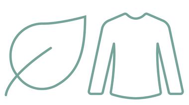 Icona foglia e maglietta verde azzurro